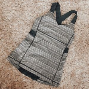 LULULEMON work out tank gray stripe sports bra